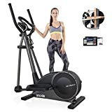 SNODE Low Impact Magnetic Elliptical Machines for Home Use with Bluetooth APP - Elliptical Home Workout Equipment with 32 Level Resistance,Pulse Tension, Intelligent Workout App, LCD Display