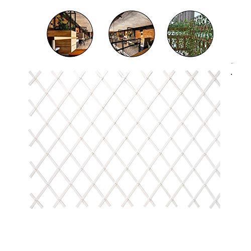 Clôture en bois pour jardin Extensible Treillage Jardin Support Plantes grimpantes Cadre D'obstacle Clôture télescopique Plante grimpante Balcon Terrasse Naturel,Blanc,100*40cm/39.3*15.7in