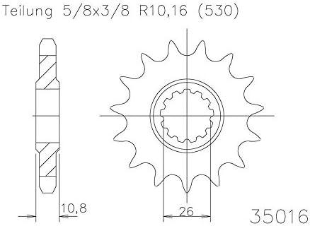 Ritzel 15 Zähne Stahl 530er Teilung 5 8x3 8 Für Yamaha Yzf R1 Rn09 2002 2003 Auto