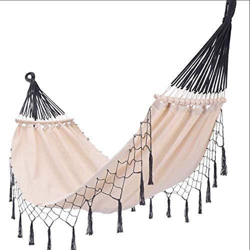 FDSZ Hamaca al Aire Libre Doble Anti-Rollover Espeso Lienzo Ocio y Estilo romántico Tassel Swing, Adecuado para jardín al Aire Libre Camping y Dormir