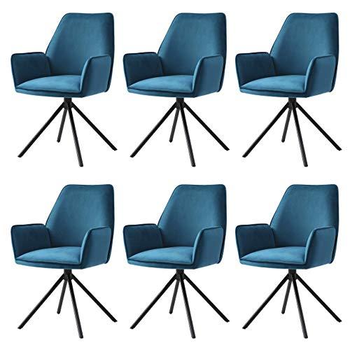 Mendler 6X Esszimmerstuhl HWC-G67, Küchenstuhl Stuhl mit Armlehne, drehbar Auto-Position - Samt, türkis-blau