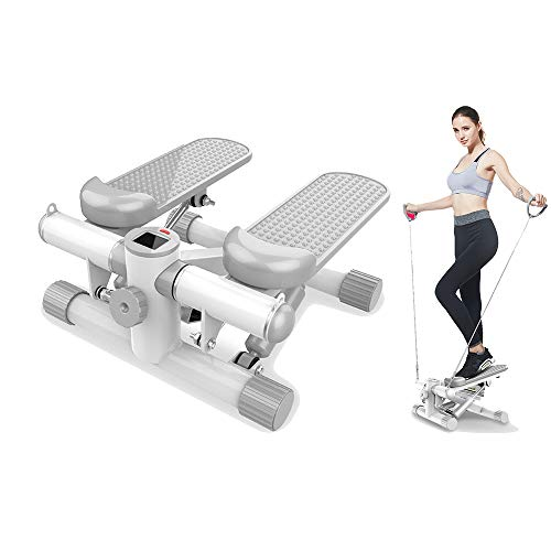 Hydraulischer Stepper, Heim-Mini-Stepper-Fitness/Gewichtsverlust 2 in 1, Übungsbein, Taille und Hüfte (mit Trainingsseil).