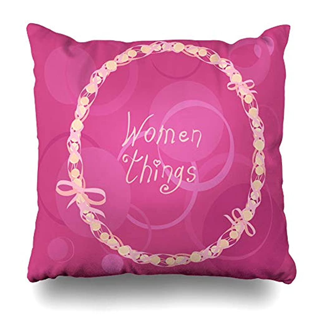 Ahawoso Throw Pillow Cover Pillowcase Wrapped Bow Beads Pink Ribbon Handwritten Beards Purple Bright Jewel Necklace Design Zippered Square Size 16 x 16 Inches Home Decor Cushion Case