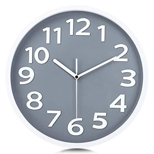 Lafocuse Reloj de Pared Gris Claro Números 3D Grandes Reloj de Cuarzo Educativo Silencioso Fácil de Leer para Niños Salon Habitacion Escuela 30cm