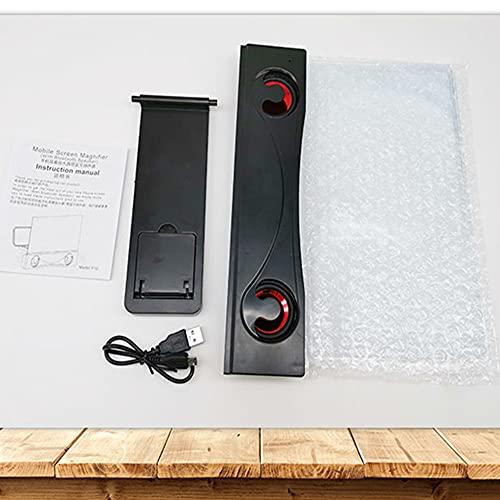 LKK-KK Universal-12-Zoll-3D-Phone Screen Amplifier HD Blu-ray-Handy-Lupe mit Bluetooth-Lautsprecher (Color : Black)