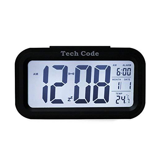 Newin Star Alarma Digital Forma del Reloj del rectángulo Reloj Inteligente Hablar LED Reloj Despertador con Temperatura Interior, Calendario-Blanco de la Cara de Shell Negro