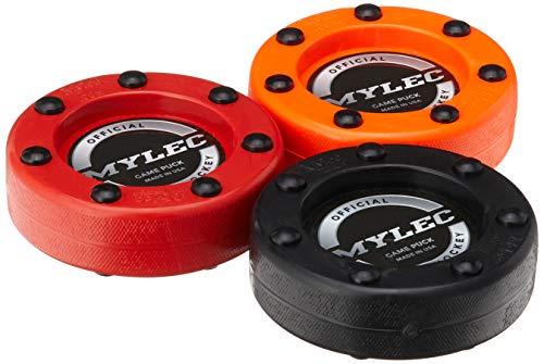 Mylec Roller Puck Variety 3 Pack Roller Hockey Pucks, Red Orange Black