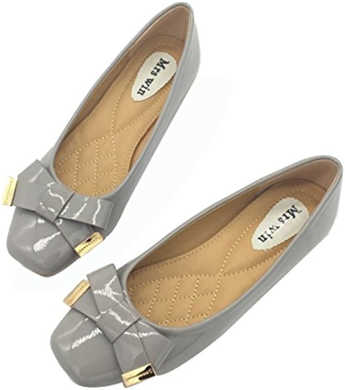 Owen Moll Women Flats, Cute Slip-On Square Toe Butterfly Knot Work Loafers shoes