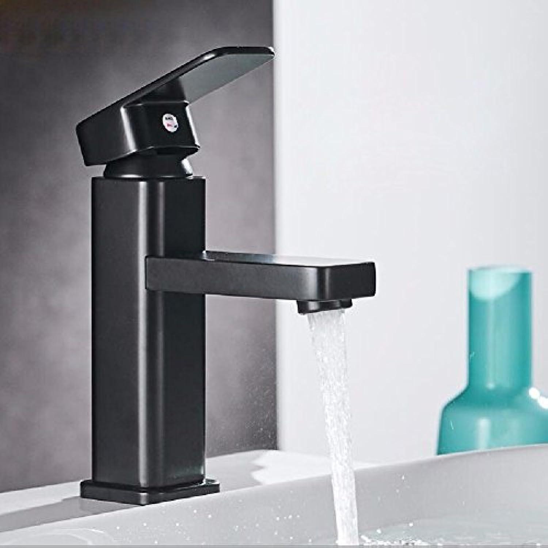 LHbox Das Kupfer Schwarz Matt Schwarz Matt Ein Wasserhahn Waschtisch Armatur Square Farbe Schwarz und Kalt Wasserhhne, Niedrig