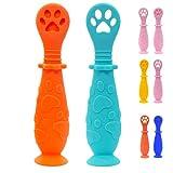 Cucharas o Precucharas de Bebe para Aprendizaje/Juego de 2 cucharas de Silicona Especial para Purés con Ventosa. (Azul-Naranja)