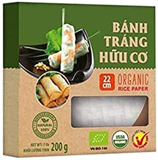 3 Boxes of USDA Organic Spring Roll Rice Paper Wrappers, 22 centimeters, Apprx. 82 sheets Total (22 cms, 3 Packs)