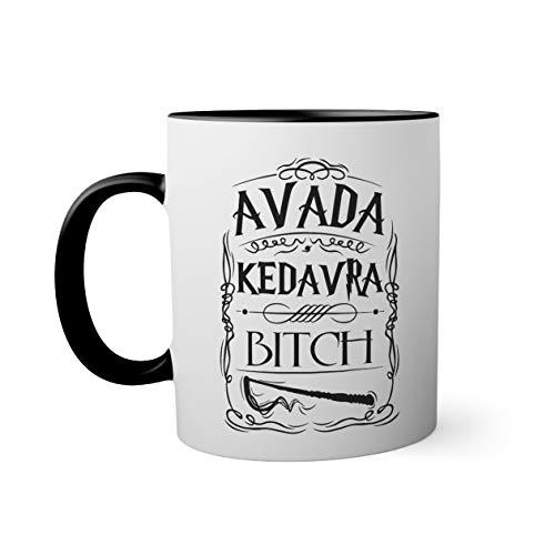 Trendy Avada Kedavra Bitch Taza de color negro con mango a juego 330ml
