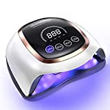 UV LED Nail Lamp, iBealous 168W Professional Fast Gel Nail Polish Dryer Curing Lamp for Gel Polish Salon Quality Nail Light Gel Lamp 4 Timer Setting & Big LCD Touch Screen for Fingernail & Toenail