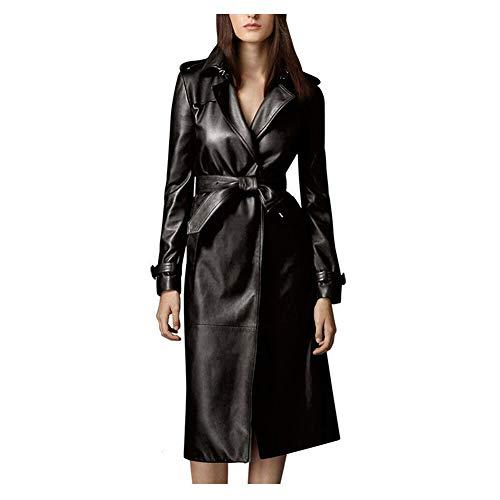 GWDYE Damen Ledermantel, Herbst Plus Size Lässig Lang Schlank Street Fashion Damen Wollfell Leder Windbreaker Jacke Weiblich, Schwarz,XL