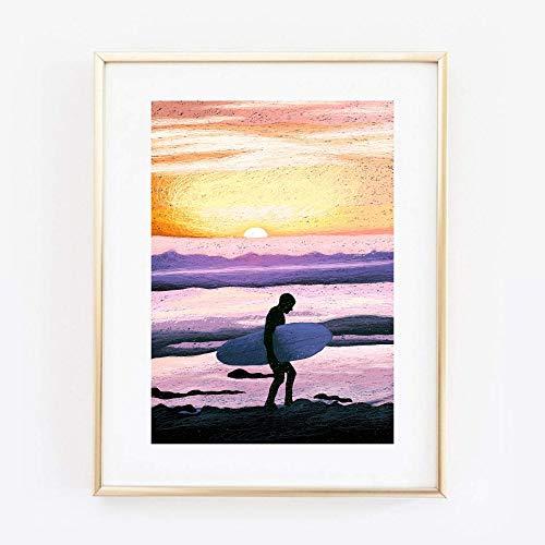Kunstdruck Din A4 ungerahmt Surfer Surfing Wellenreiten Strand Sommer Sonnenuntergang Poster Bild