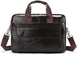 YXHM AU Men's Genuine Leather Bag Leisure Business Briefcase Cross Section Shoulder Messenger Bag Male Laptop Bag (Color : Coffee)