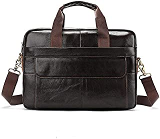 Men's Genuine Leather Bag Leisure Business Briefcase Cross Section Shoulder Messenger Bag Male Laptop Bag JAUROUXIYUJINn (Color : Coffee)