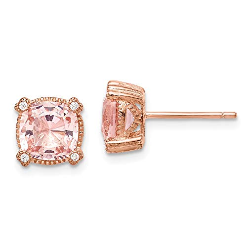 925 Sterling Silver Rose Tone Pink Crystal Cubic Zirconia Cz Post Stud Earrings Fine Jewelry For Women Gifts For Her