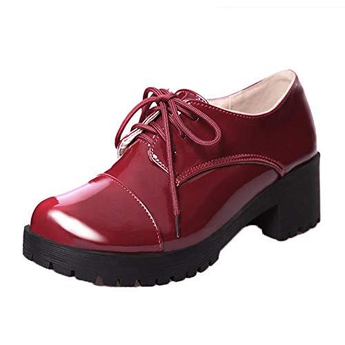 Zapatos Casuales para Mujer, Estilo Simple, Color Charol, Suela Gruesa con Tacos, Zapatos de Charol para Centro Comercial con Cordones al Aire Libre, Zapatos cómodos con cuña para Mujer