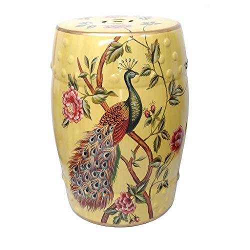 MAISONICA Taburete oriental chino amarillo porcelana asiento pavos reales peonías flores 45 cm