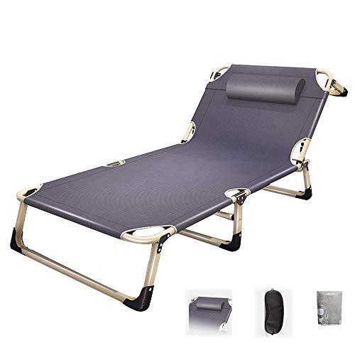 ZYYH Chaise Longue pliante inclinable Chaise de Pause déjeuner Maison paresseux Lit de déjeuner Simple Lit de sieste Plage Jardin Relax Chaise berçante - idéal pour accessoire de Patio extérieur