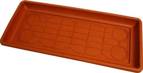 Sottovaso rettangolare MAXI in polipropilene - 98x36x5,7H cm - Colore terracotta