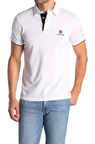 Roberto Cavalli FSR687 Herren Men Polo T-Shirt Poloshirt Weiß White (M)