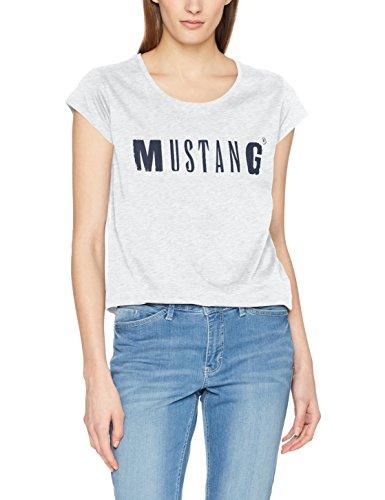 MUSTANG Damen Logo Tee T-Shirt, Grau (Light Grey Melange 4141), Medium