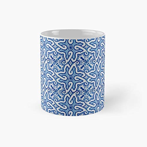 Azulejos decorativos portugueses taza clásica | Mejor regalo divertido tazas de café 12 oz