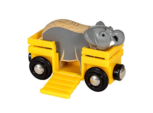 BRIO World Safari Elephant & Wagon for Kids age 3 years and up compatible with all BRIO train sets