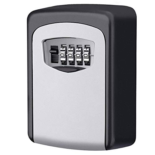 Caja fuerte para llaves, Candado de Seguridad con Combinación 4 dígitos,Caja de Seguridad para Llaves, se puede clavar en la pareds, Adecuada para el Hogar, el Garaje y la Granja,ect