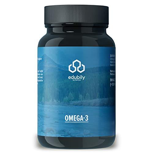 Fischöl Omega 3 Kapseln von edubily® 70% Omega 3-Gehalt • EPA DHA Kapseln in pharmazeutischer Qualität aus nachhaltigem Wildfang • Kleine Kapseln • Im Braunglas • Vorrat für 90 Tage