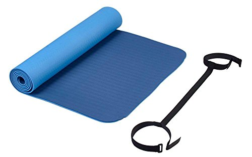 Deuser Unisex– Erwachsene Yoga Matte TPE, hellblau/dunkelblau, 183 x 61 cm