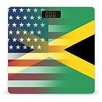 アメリカジャマイカ国旗 LCDディスプレイ付き高精度スマートフィットネススケール体重デジタルバスルームボディスケール