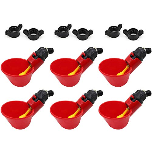 MACGOAL Poultry Water Drinking Cups with Wingnuts Automatic Poultry Waterer Chicken Drinker Cups for Bird Quail Chicken Flock (6)