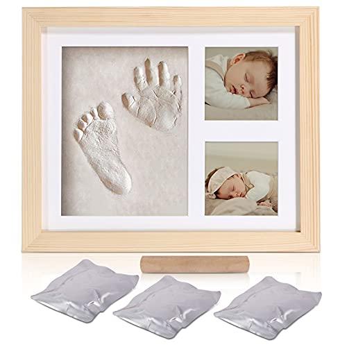 Cadre photo d'argile d'empreinte de main de bébé,Kits de moulage et d'empreintes, cadre en bois et verre acrylique, cadeau de kits de moulage et d'impression pour baptême de bébé(wood-2823)