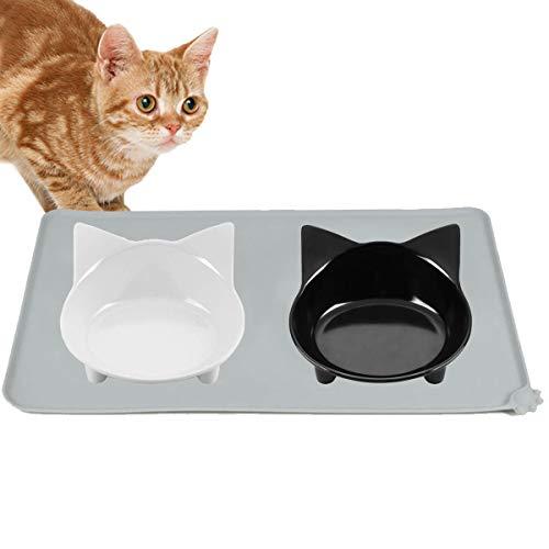 【 マット付き 】iikuru 猫 食器 食べやすい 猫用 フード ボウル 脚付 ネコ エサ入れ 斜め ねこ 餌 台 子猫 餌入れ 皿 y629