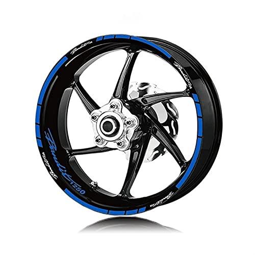 para Suzuki Bandit 1250 Bandidos 1250 Motocicleta Pegatinas de neumáticos Delanteros y Traseros Rayas Reflective Impermeable Rueda Etiquetas Etiquetas engomadas Set (Color : Reflective Blue)