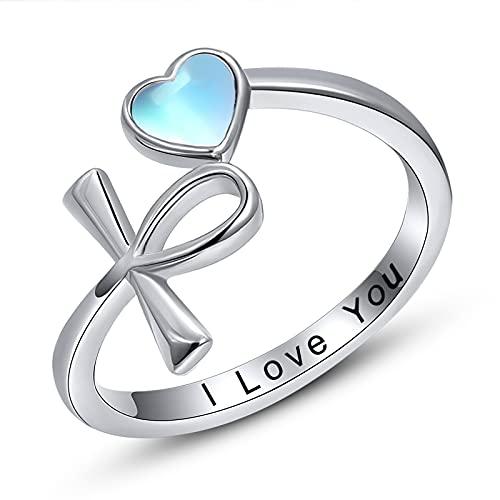 Ankh Anillo de plata de ley 925 Anillo de cruz egipcia Ankh ajustable anillo abierto tamaño Q joyería regalo para mujeres mujeres