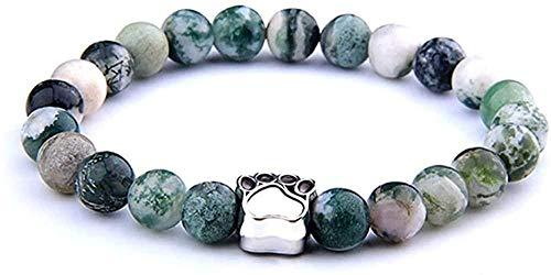 zhuangpuxu Necklace Necklace Cute Rainbow Natural Stone Bracelet Paw Print Handmade Yoga Men Women Prayer Couple Gift 19Cm