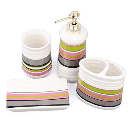 HUIJ Juego de Accesorios para baño Juego de cerámica para baño 4 Piezas Porta Cepillos de Dientes Jabonera Dispensador de Jabón Vaso para Enjuague Bucal Conjunto de baño de cerámica para el Lavabo