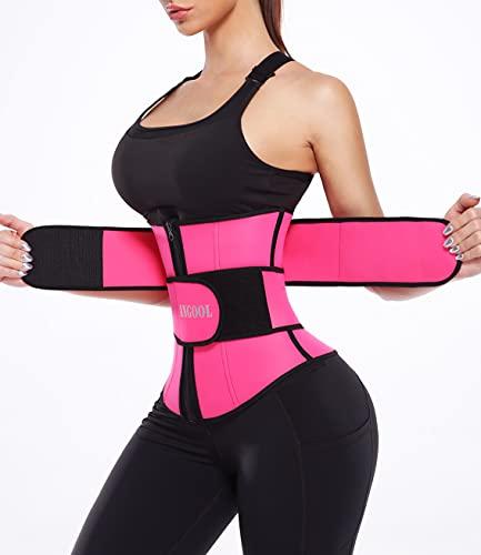ANGOOL Neopren Waist Trainer for Women,Workout Plus Size Trimmer Belt Sauna Sweat Corset Cincher with Zipper M Pink