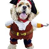 L-Peach Disfraz de Pirata Ropa Traje Uniforme para Mascotas Animal Doméstico Gato Perro con Dos Patas y Gorro para Halloween Navidad L