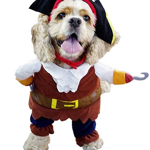 L-Peach Disfraz de Pirata Ropa Traje Uniforme para Mascotas Animal Doméstico Gato Perro con Dos Patas y Gorro para Halloween Navidad XL