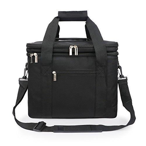 NOTAG Grote Geïsoleerde Lunch Bag Cool Tote Bag Geïsoleerde Koeltas voor Lunch Met Beste 2 Weg Ritssluitingen Dubbelgenaaid Nylon en 48-Inch Afneembare Schouderriem 11 * 8.3 * 13inches Zwart