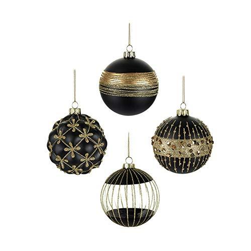Set di 4 palline per albero di Natale, stile contemporaneo, colore: nero e oro, 8 cm