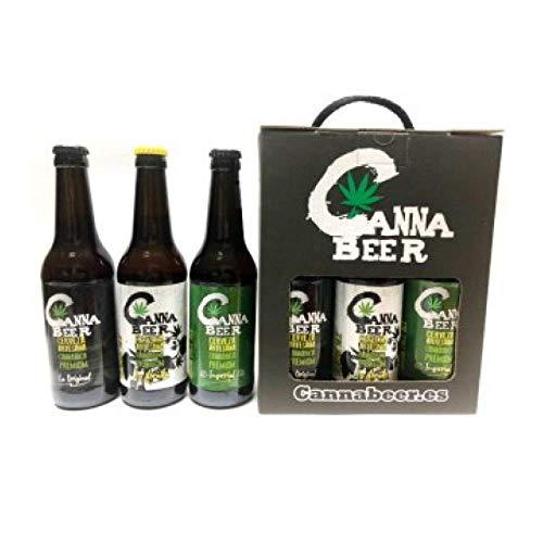 Pack de CannaBeer Cerveza Artesana Cannabica Premium, incluye La Imperial, La Dorada y La Original