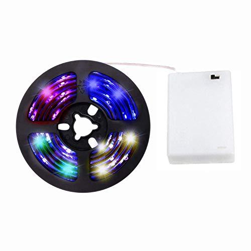 cuzile - Catena luminosa / striscia di luci RGB alimentata a batteria, 100cm, con scomparto per batterie e mini telecomando, multicolore 5050