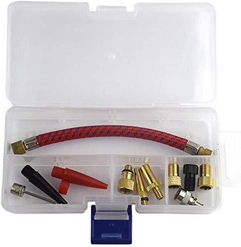 Aeromdale Bomba de aire para bomba de aire, boquilla de manguera de aire, agujas, inflador de bicicleta, herramientas de 12 piezas/juego