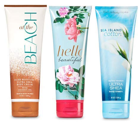 Bath and Body Works 3 Pack Ultra Shea Body Cream 8 Oz. Sea Island Cotton, At The Beach and Hello Beautiful.